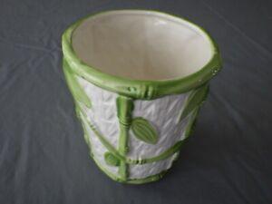 Vintage Japan Ceramic Hand Painted Weaved Pattern Bamboo Planter Vase
