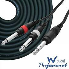 UKDJ 1.5m 6.35mm Jack Stereo to 2 x 1/4 Inch Jacks Mono Cable OFC Audio Lead HQ