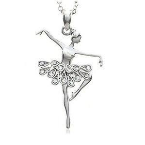 Fashion-Jewelry-white-Dancing-Ballerina-Dancer-Ballet-Dance-Pendant-Necklace