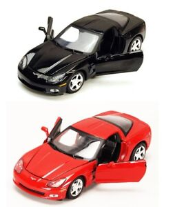 2005-CHEVROLET-CORVETTE-C6-COUPE-1-24-DIECAST-MODEL-CAR-BY-MOTORMAX-RED-or-BLACK