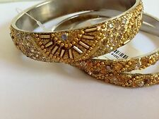FOREVER 21 Gold Clear Rhinestone Bracelet Three 3 Pack 2 Thin 1 Thick