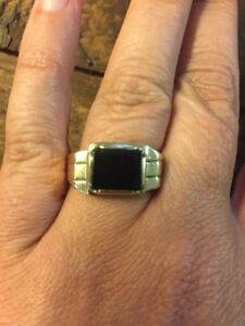 a1dccc66f Art Deco Mens 14k Yellow Gold Onyx Ring Size 10 Vintage Estate ...