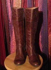 18dad50c3cea Image is loading Brown-leather-Staccato-wedge-boots-with-embroidered-top-