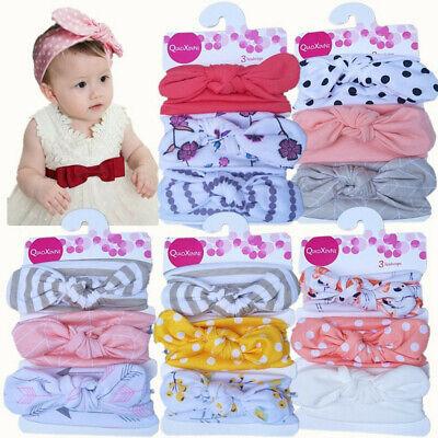 Cute 3pcs//Set Newborn Headband Elastic Florar Baby Girls Hairband Bowknot Turban