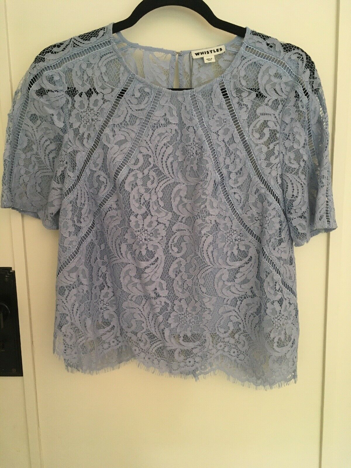 Whistles Lace Top Größe 10 Bnwt RRP+, Powder Blau