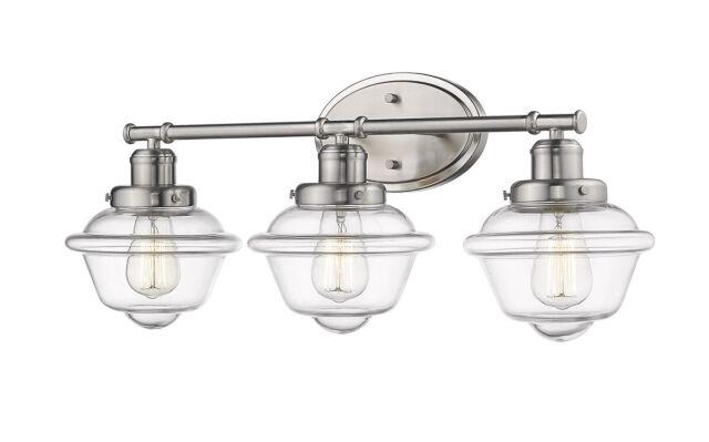 Over Mirror Satin Nickel Bathroom Light Fixture 26 W School House
