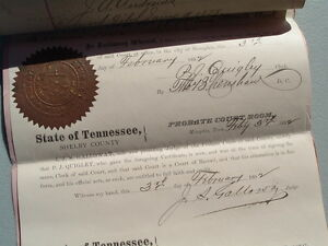 1878 Last Will,Testament/C.G.Polk/Shelby,Tenn.,Judge Galloway signed,documents!