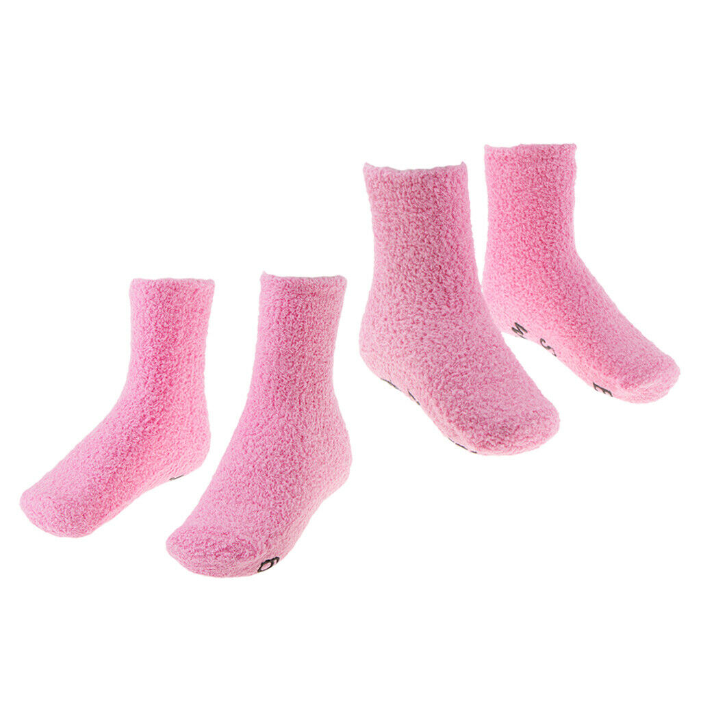 2 Paar flauschige Fuzzy Socken Kuschelige Socken Crew Socken Bettsocken