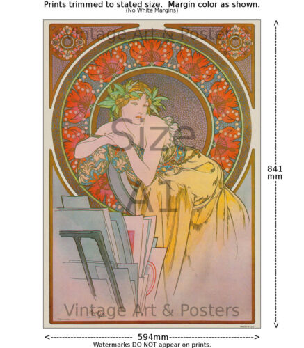 Mucha Girl with Easel 1898 Art Nouveau Print A 6 sizes, matte+glossy avail