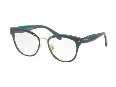 Montatura Occhiali Da Vista Miu Miu Autentici Mu 54qv Verde Qrm1o1 Completa In Specifiche