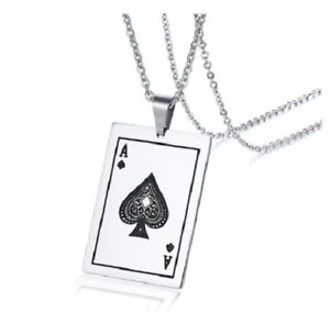 Ace-of-Spades-Pendant-Necklace-Earrings-Playing-Card-Stainless-Steel-Jewelry-NEW