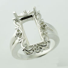 8x6 MM Semi Mount Eternity Ring Sterling Silver Baguette Shape Exotic Jewelry