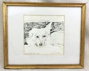 Original-Hund-Zeichnung-Gerahmt-Unterzeichnet-Michael-Fell-Royal-Academy