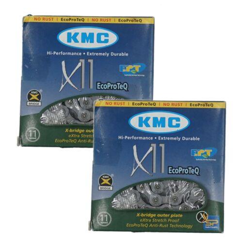 1or 2Pak KMC X11 EPT EcoProTeQ 11 Speed Bike Dark Silver Chain Anti Rust