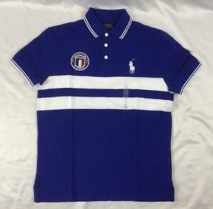 Ralph Lauren Men/'s France Polo Shirt Custom Slim Fit Blue White Size M