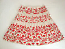 Gorgeous MONSOON A-line ivory cotton SKIRT with red embroidered detail Size 10