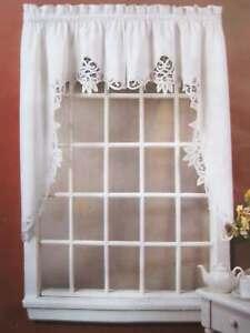 Again Elegant Pair Of Handmade Battenburg Lace White Cotton Curtain Swags New Ebay