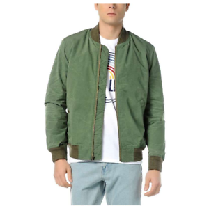6e87949c3 Details about NEW Levis Mens 23594 Green Wind Resistant Shawl Collar  Varsity Bomber Jacket XS