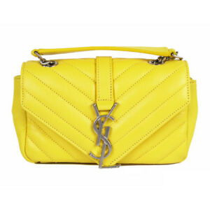 41a13562c4 NEW $1,550 SAINT LAURENT Yellow Leather YSL LOGO MONOGRAMMED Mini ...