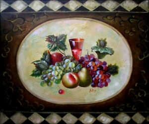 Quality Hand Painted Oil Painting Tablecloth With Still Life Design 20x24in
