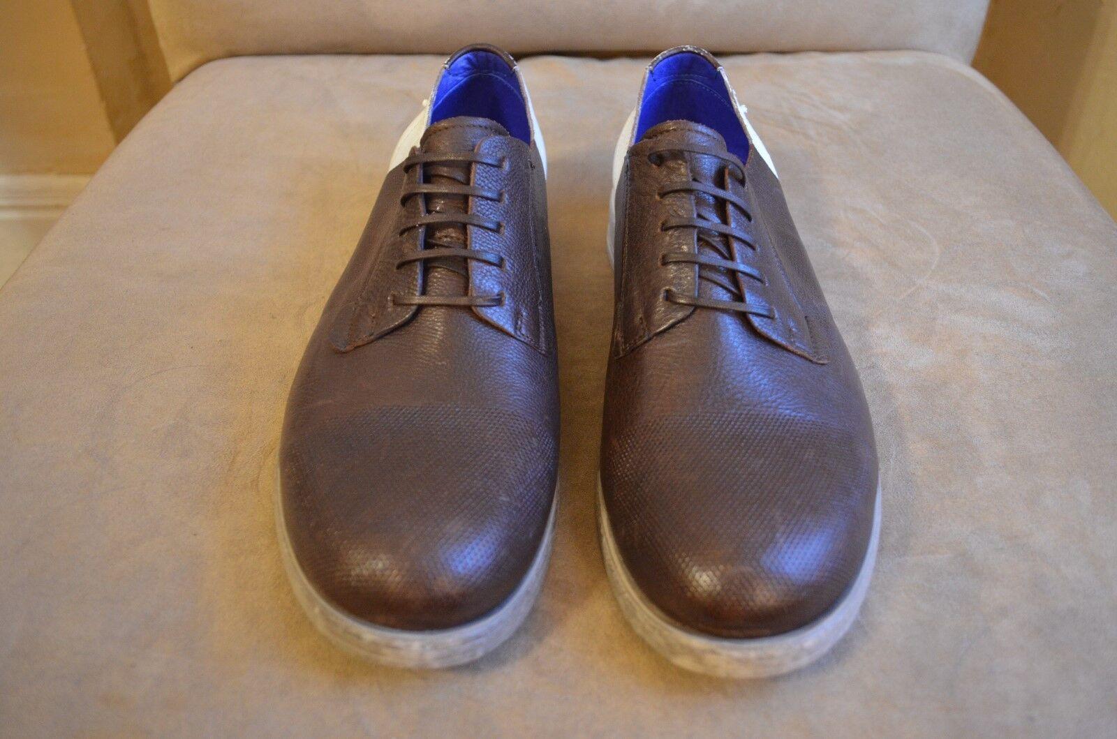 Bloque de Color marrón DIESEL blancooo Marrón Cuero Perforado Punta corte inglés Oxford Zapatos 11 44