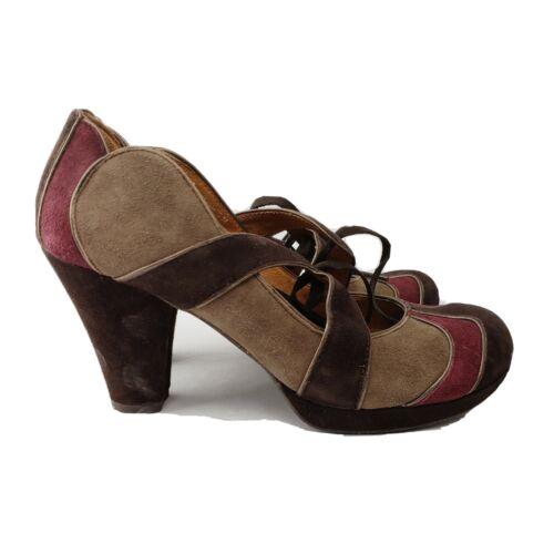 Naya shoes 6 M modern 1940s retro heels colorblock