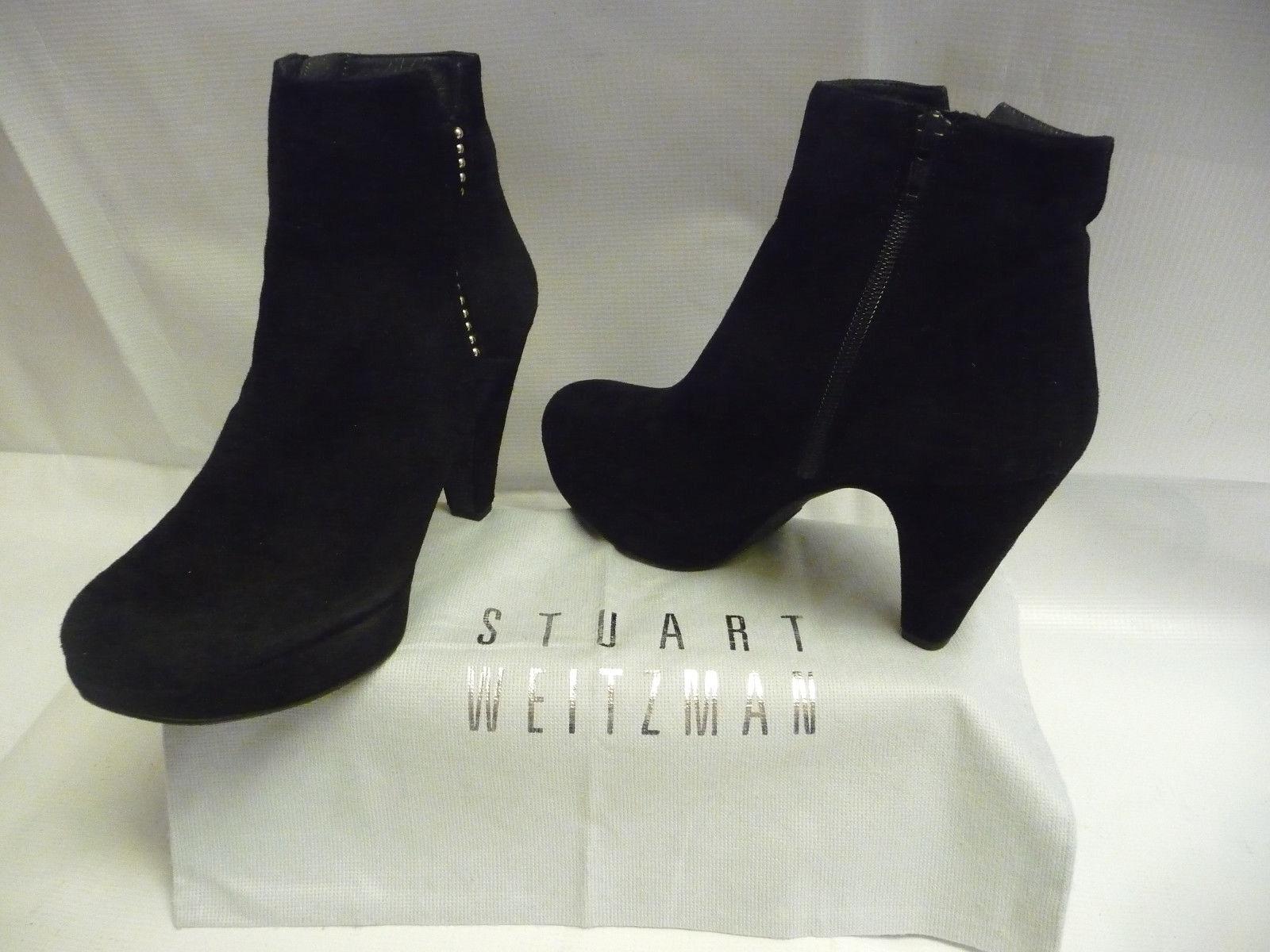 Stuart Weitzman Mujer 7.5 M botas al Tobillo Tobillo Tobillo Gamuza Negra Plataforma Tacones Cremallera España  estar en gran demanda