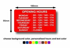 Sticker Personalised Opening Hours Decal Shop Coffee Business Sign