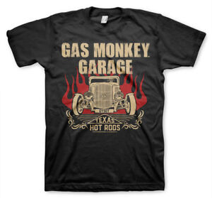 Gas-Monkey-Garage-Speeding-Monkey-Flaming-Hot-Rods-Licensed-Black-Mens-T-shirt