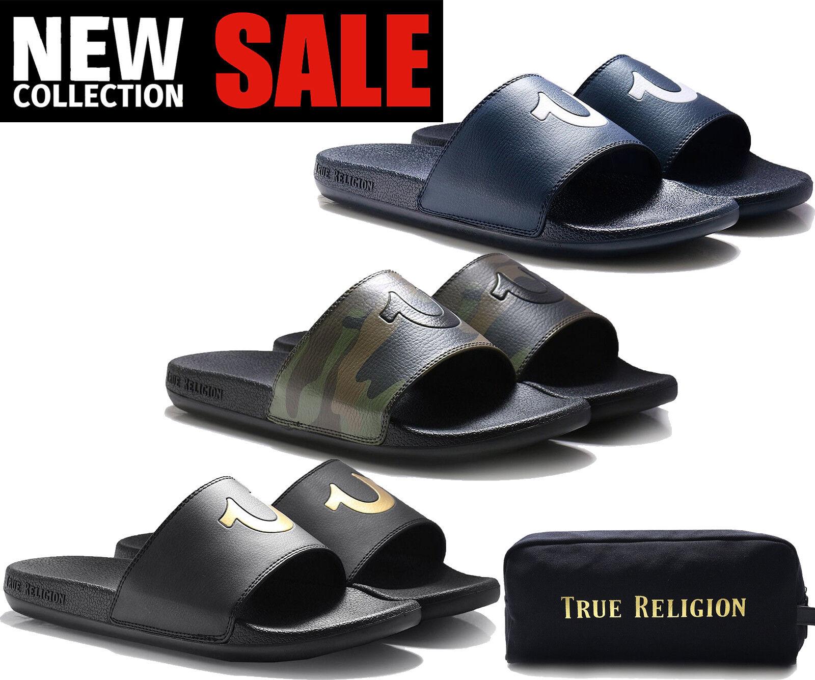 True Religion Sandalo Uomo TR Scivolo Pantofola Sandalo Religion Scarpe 100% Nuovo di Zecca ORIGINALE trshoe e42859