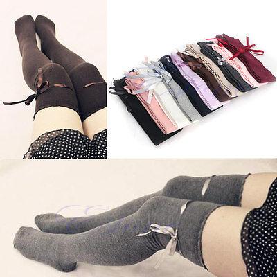 Women's Girls Sexy Cotton High Socks Thigh High Hosiery Stockings Over The Knee