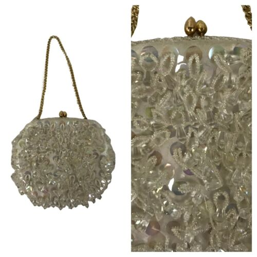 1960s Mini Beaded Purse / 60s White Clear Beaded S