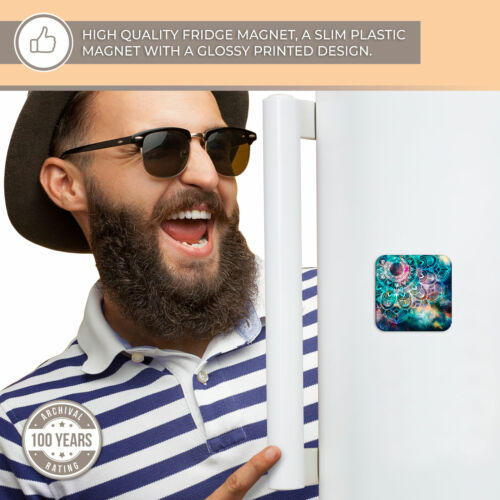 Super Aimant de réfrigérateur-bleu sarcelle Abstrait Mandala Cool Cadeau #2711