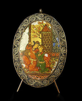 Ancien médaillon persan Perse Iran nacre émaillée enameled glazed nacra persia