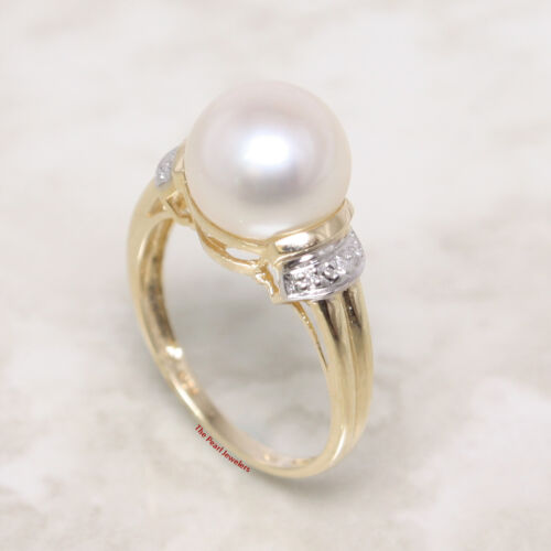14k solide or Jaune Véritable AAA White Cultured Pearl Diamond Cocktail Ring TPJ