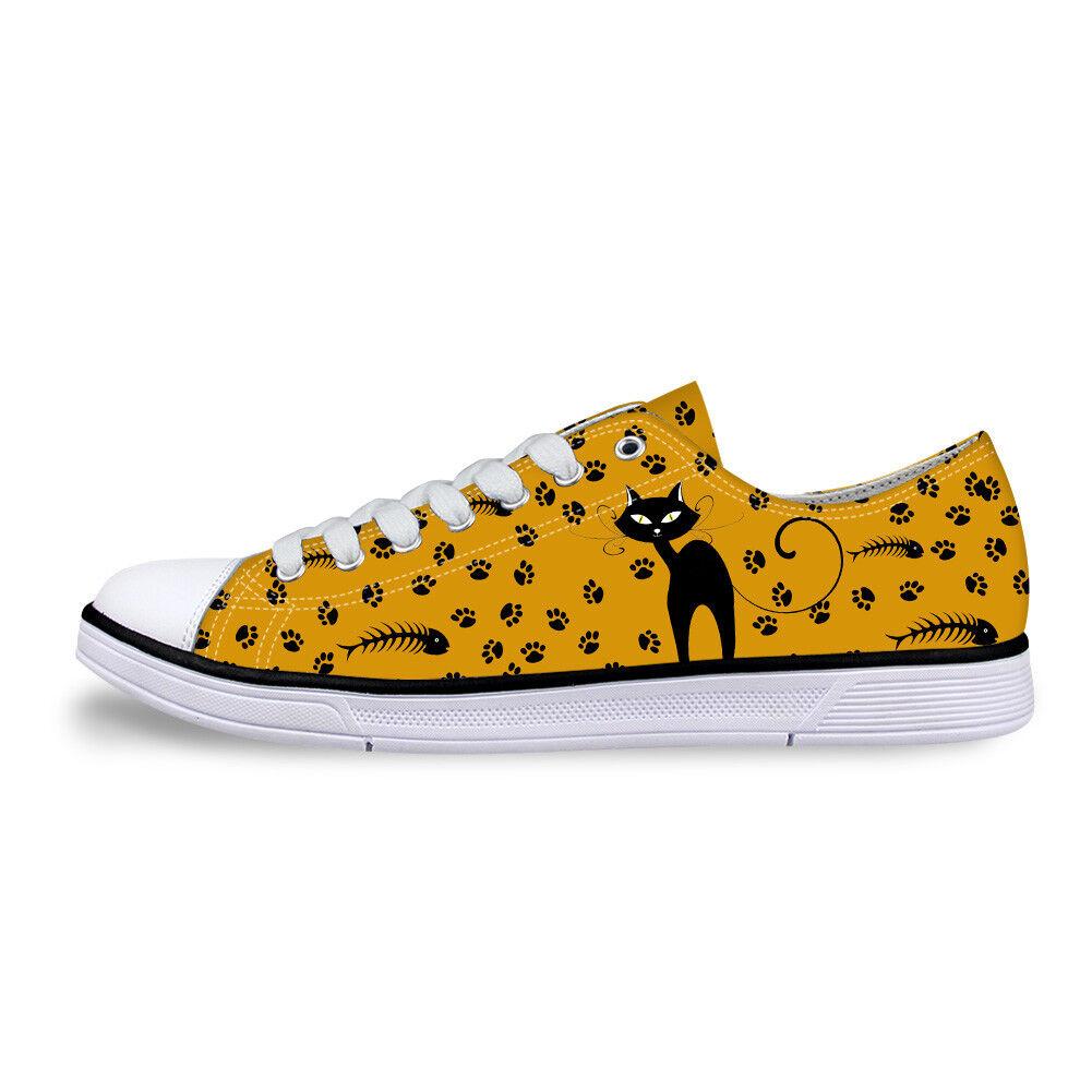 Cat Print Women Canvas shoes Girls School Wear Lace Up Pumps Casual Plimsolls