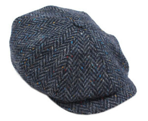 New Irish Tweed Caps 8 Piece Navy Herringbone Wool Made in Ireland 0e70da8bb6e