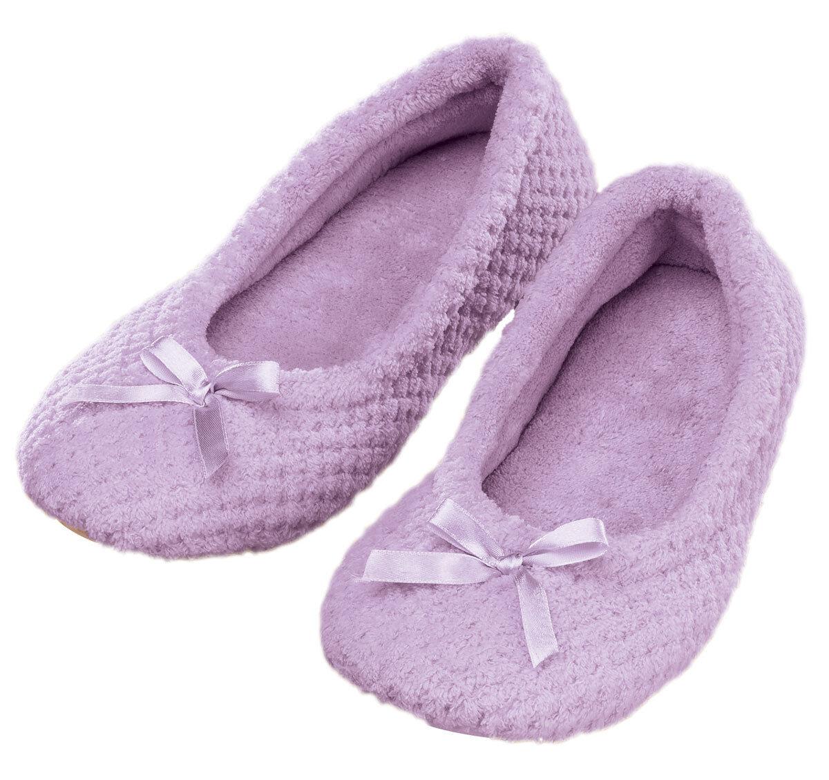 Chenille Ballet Slippers, Light Purple, LG