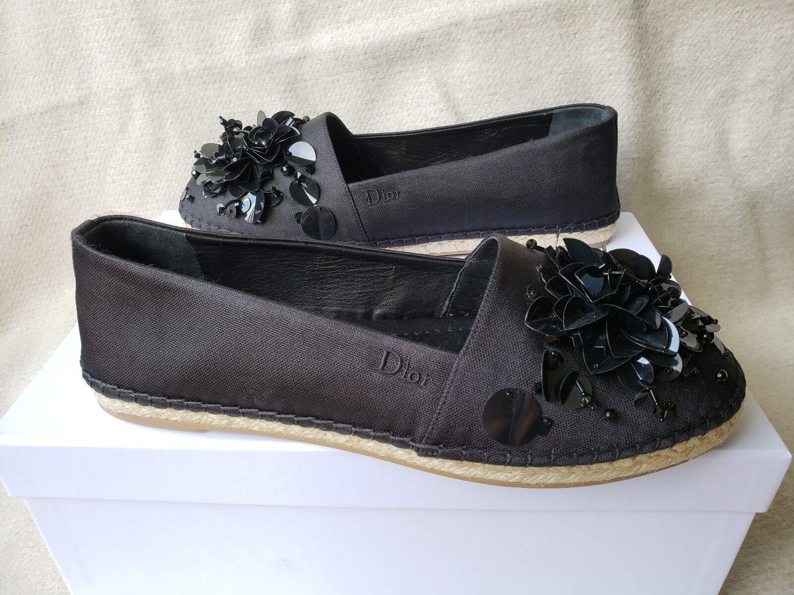 design unico NIB Christian Dior Flat Loafer Espadrille nero nero nero Canvas 39 Sunset Sequin Flower  alta qualità
