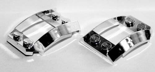 Lego 2x Silver Chrome Wedge 4x3 Curved with 2x2 Cutout NEW! 47755