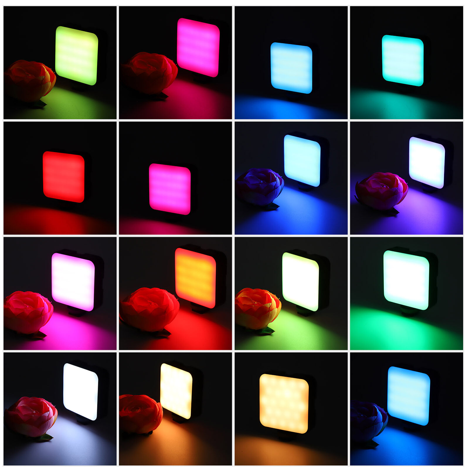 360° LED RGB Photography Light Rechargeable Full Color Fill Light with Tripod