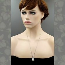 White Freshwater Pearl CZ 925 Sterling Silver Pendant 24 In Chain Necklace 00259