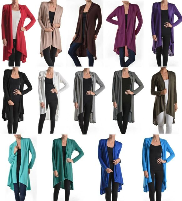 Career Long Sleeve Open Front Hi-Low Hem Slim Long Draped Cardigan Lightweight