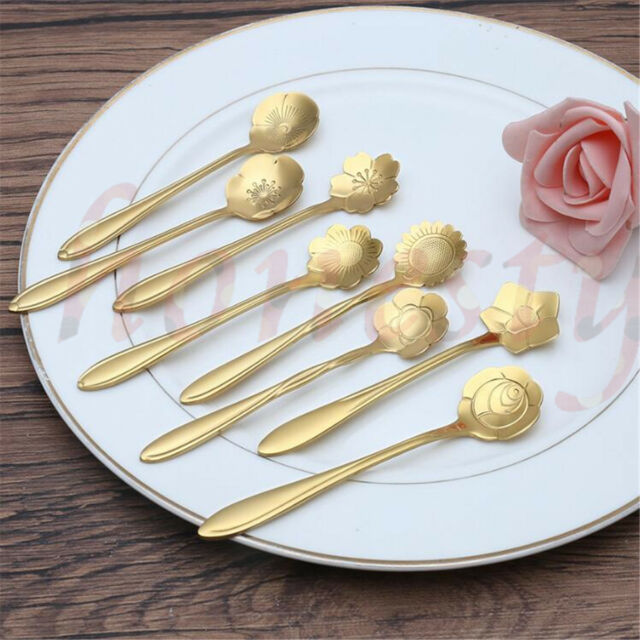 Rose Gold Vacally 8Pcs Flower Shape Ice Cream Tea Coffee Spoon Small Condiment Sugar Soup Spoons Tableware 7 Colors