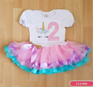 Image Is Loading Unicorn Baby Birl Birthday Party Outfit Dress Pink