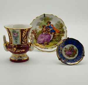 Three-Limoges-Miniatures-2-X-Fragonard-Lovers-Ornamental-Plates-And-a-Urn-Vase