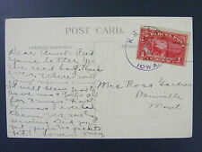Kesley Iowa Butler County 1913 4-Bar Cancel 1 Cent Parcel Post Stamp Q1 Postcard
