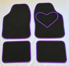 BLACK CAR MATS WITH PURPLE HEART HEEL PAD FOR PEUGEOT 1007 106 107 108 206 207