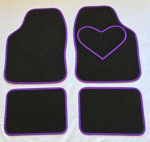 BLACK-CAR-MATS-WITH-PURPLE-HEART-HEEL-PAD-FOR-VAUXHALL-CORSA-INSIGNIA-MERIVA