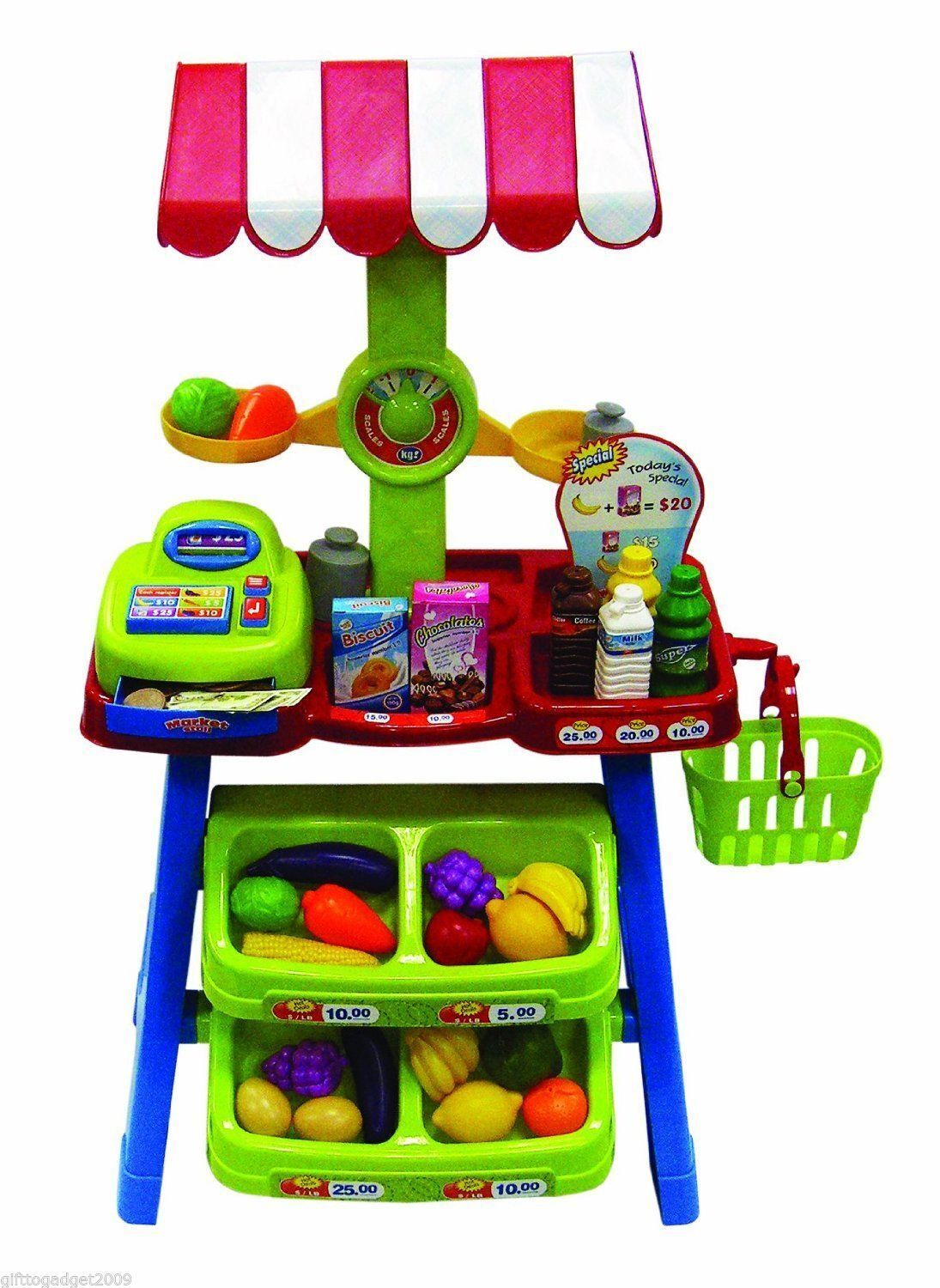 Market Stall Stall Stall with Cash Register and Accessories New 120eda
